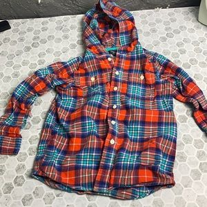 Osh Kosh Size 7 Thick Flannel Hooded Button Up